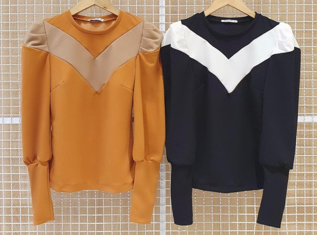 Blusa Bicolor Crepe Malha Milalai