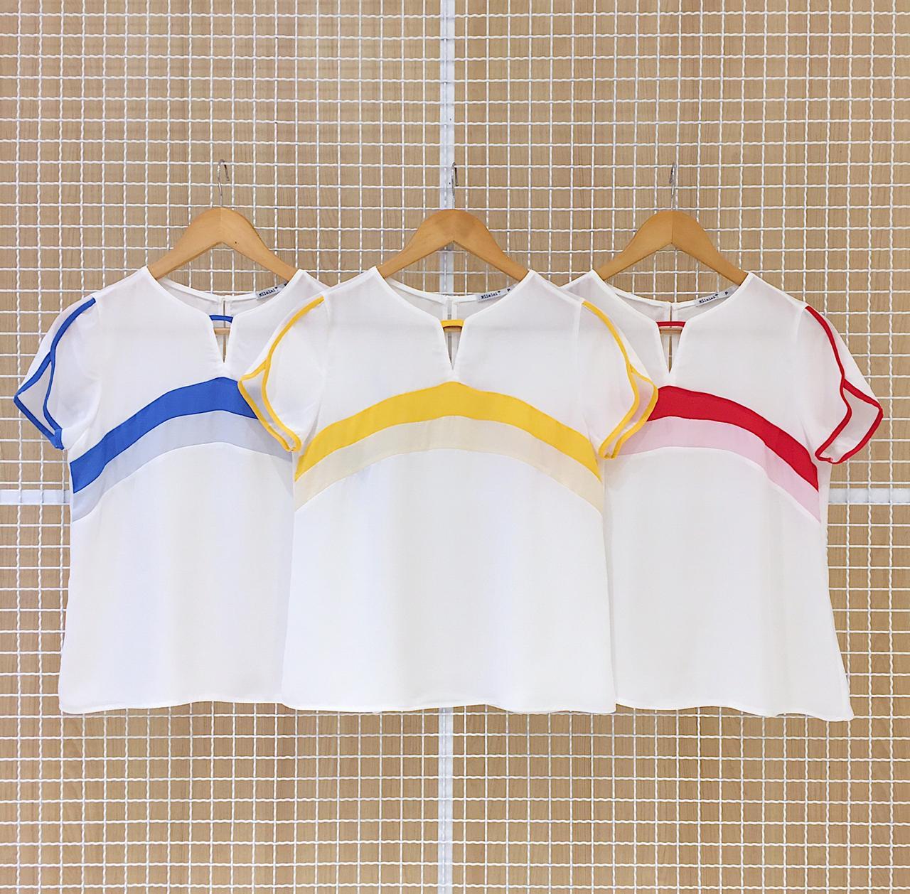 Blusa Bicolor Milalai em Crepe com Manga Curta