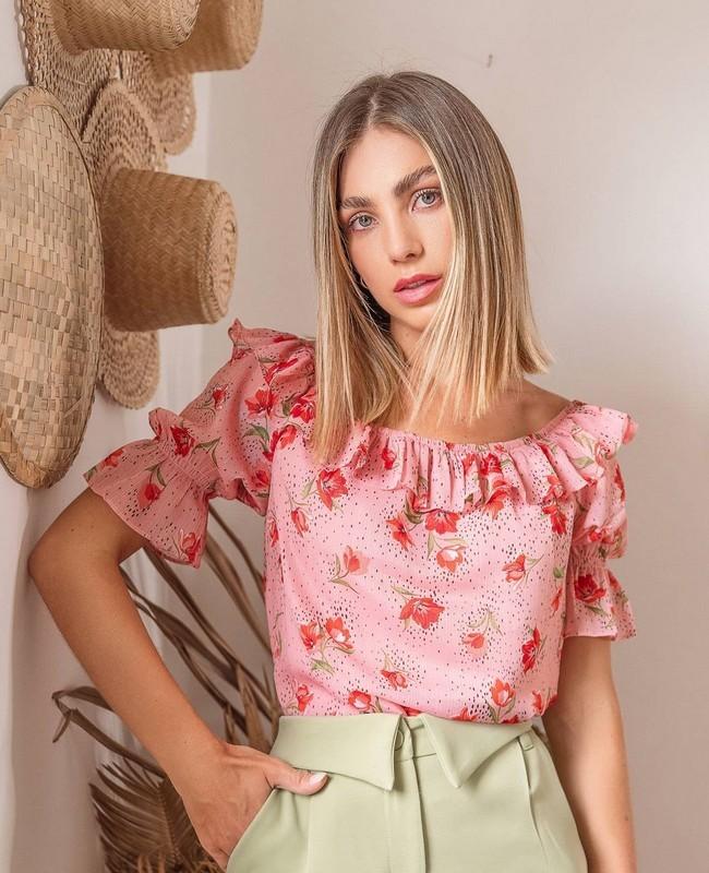 Blusa Ciganinha Floral com Babados Doce Flor