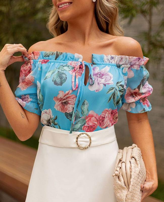 Blusa Ciganinha Floral Doce Flor