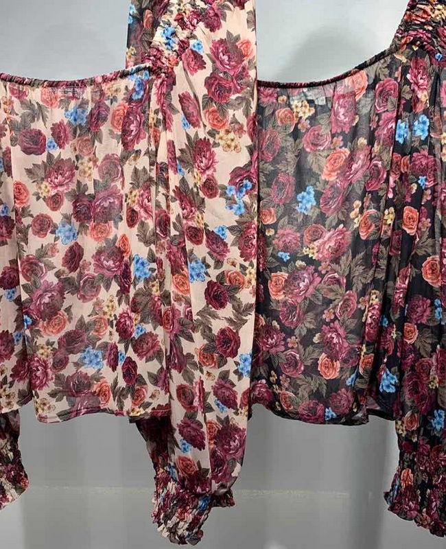 Blusa Ciganinha Tule Floral com Elastico Punho Morina