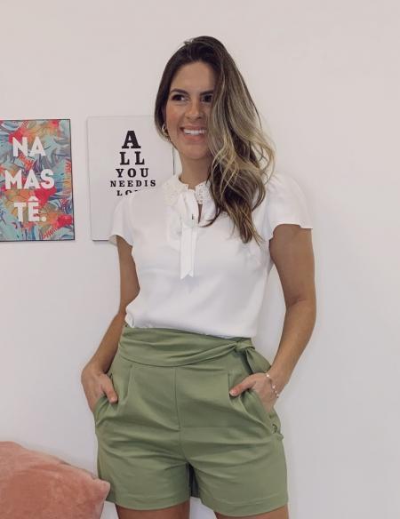 Blusa Crepe Amarracao Decote Unique Chic