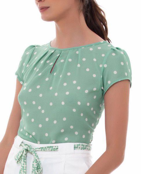 Blusa Crepe com Estampa de Poa e Decote Gota Unique Chic