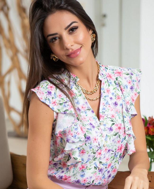 Blusa Crepe Floral Babados Unique Chic
