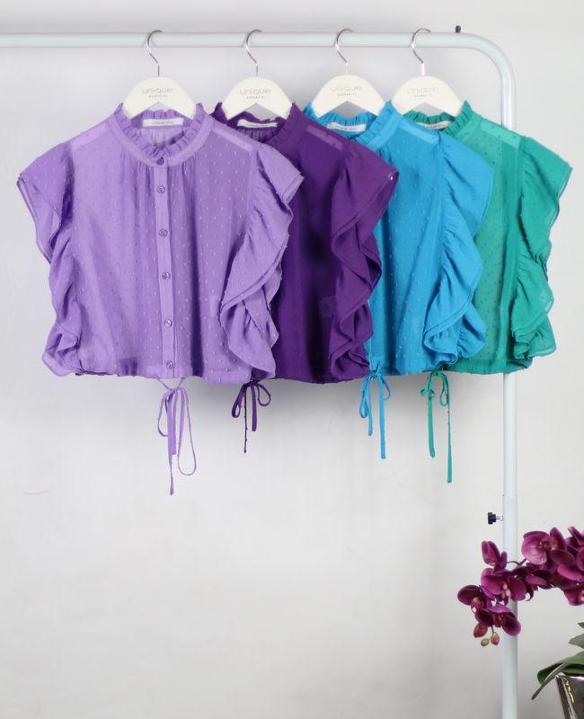 Blusa Cropped em Chiffon com Babado e Amarracao Unique Chic