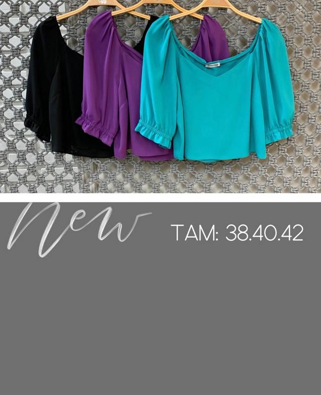 Blusa Cropped em Crepe com Decote Princesa Donna Ritz