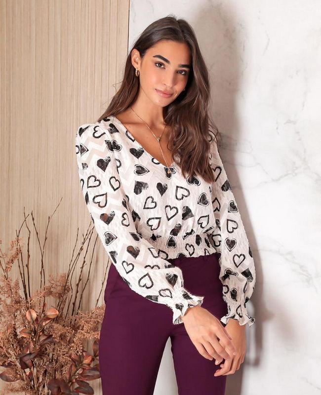 Blusa Cropped Estampada com Faixa em Lastex Donna Ritz