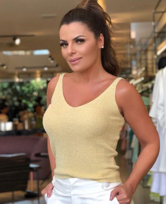 Blusa Cropped Lurex Unique Chic
