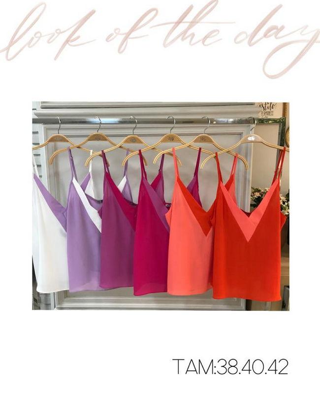 Blusa De Alcinha com Decote em V Bicolor Donna Ritz