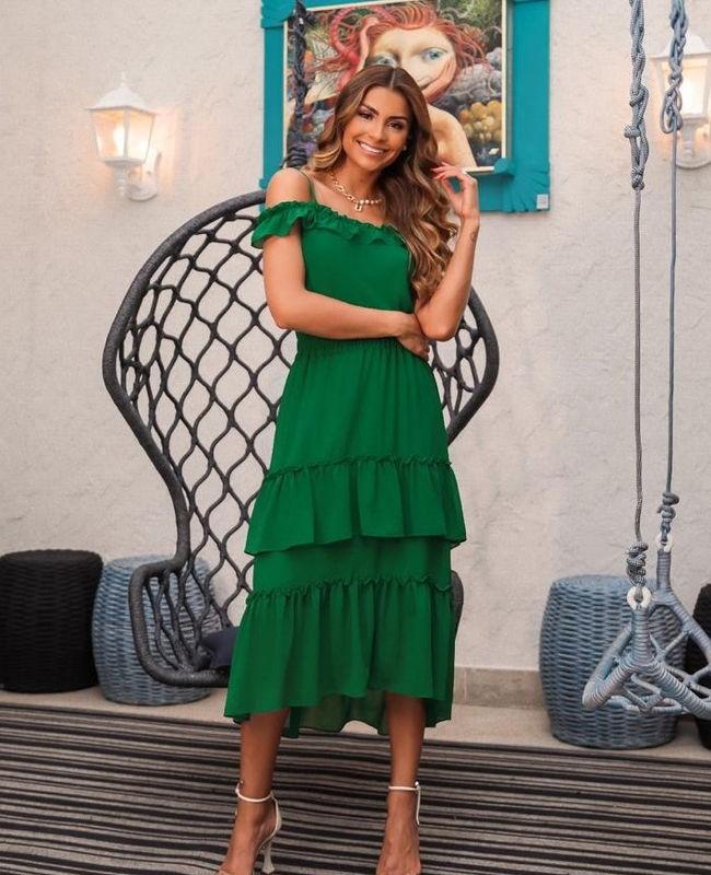 Blusa de Alcinha com Ombro Vazado com Detalhe de Babados Donna Ritz