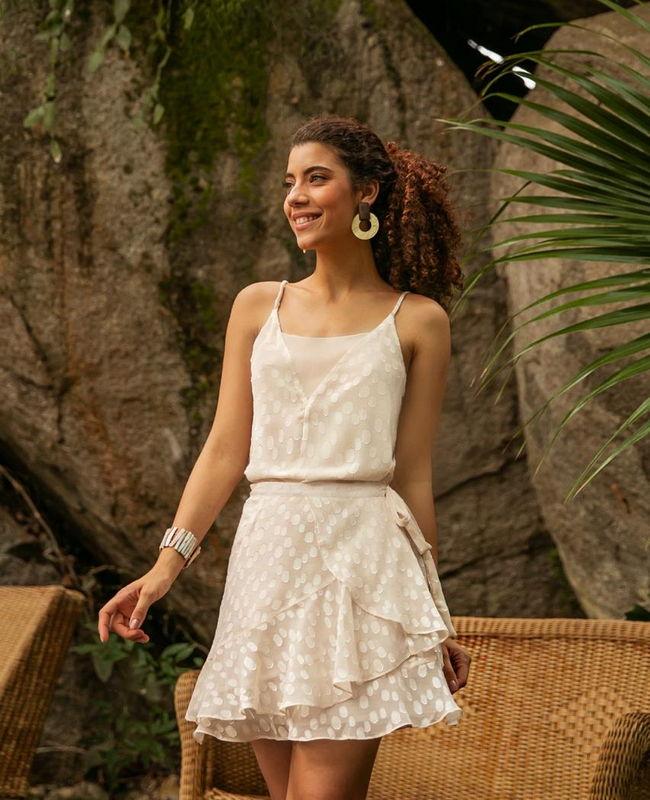 Blusa De Alcinha em Chiffon Jacquard com Decote em V Donna Ritz