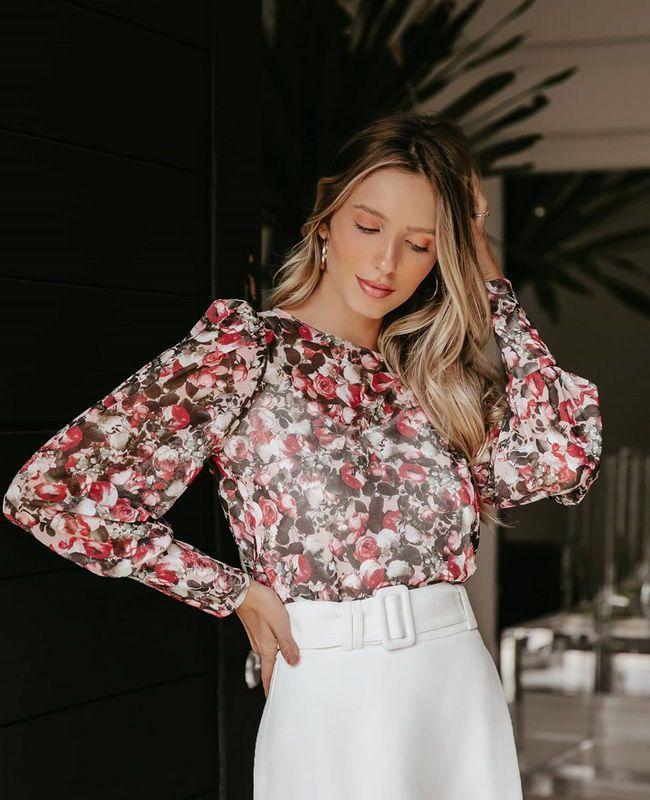 Blusa de Tule Floral Manga Longa Doce Flor
