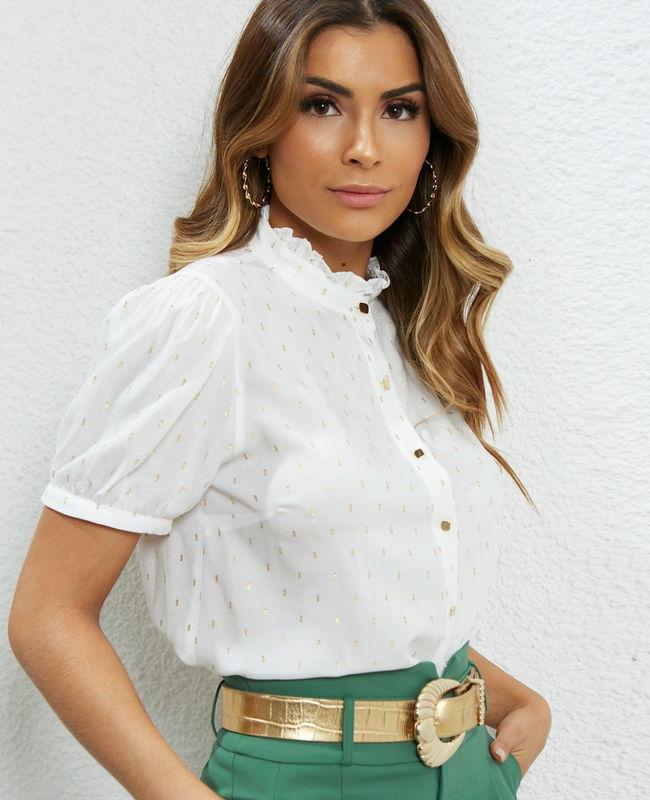 Blusa De Viscose Foil Com Babados Na Gola Unique Chic