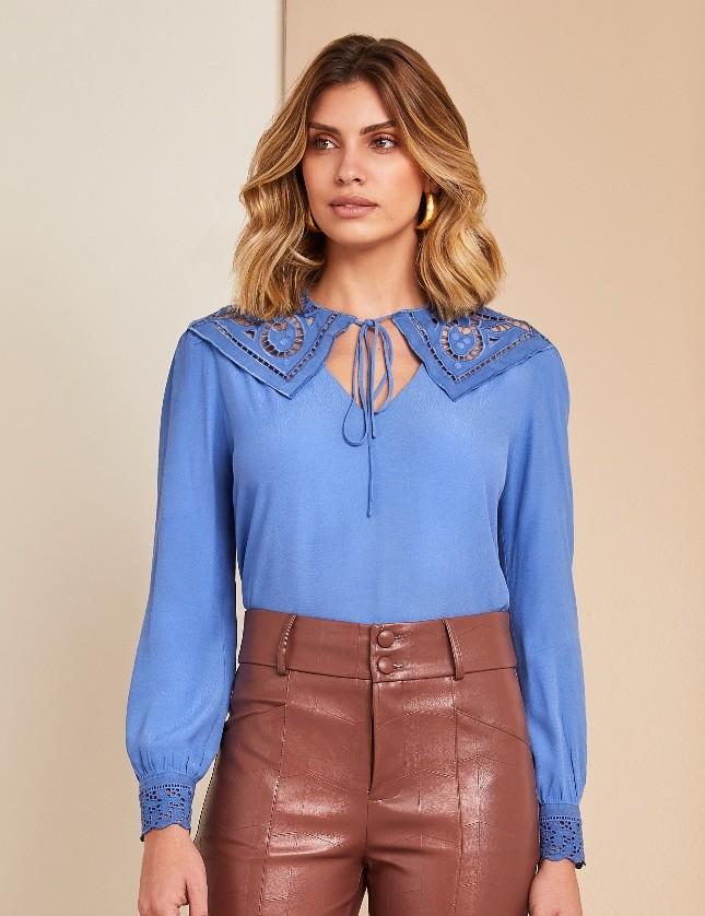 Blusa Decote Renda Amarracao Unique Chic