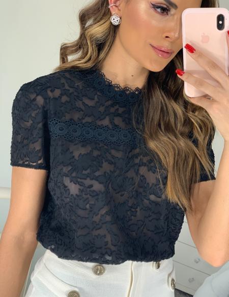 Blusa Devore Detalhe Renda Unique Chic