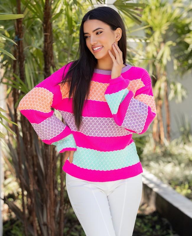 Blusa em Tricot com Escamas Coloridas