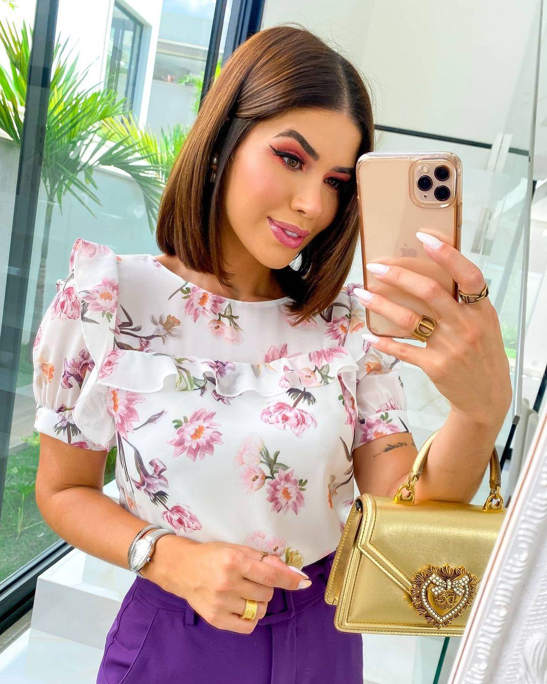 Blusa Floral com Babados Doce Flor