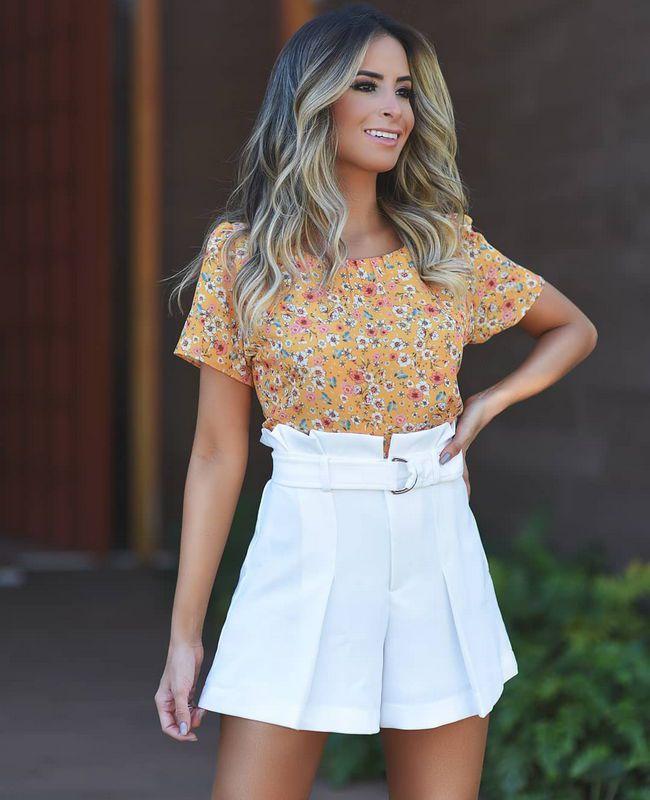 Blusa Floral com Pregas no Decote Em Crepe Doce Flor
