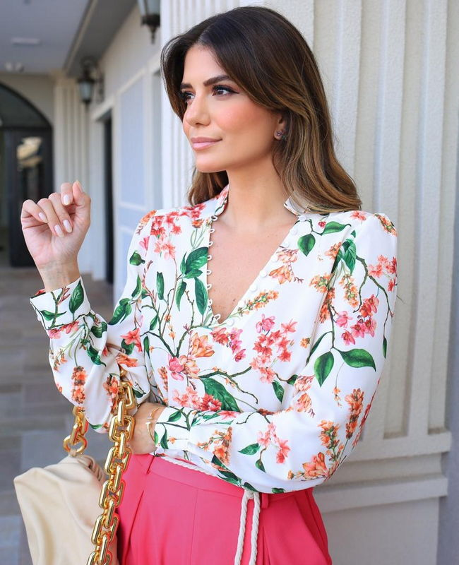 Blusa Floral em Crepe Donna Ritz