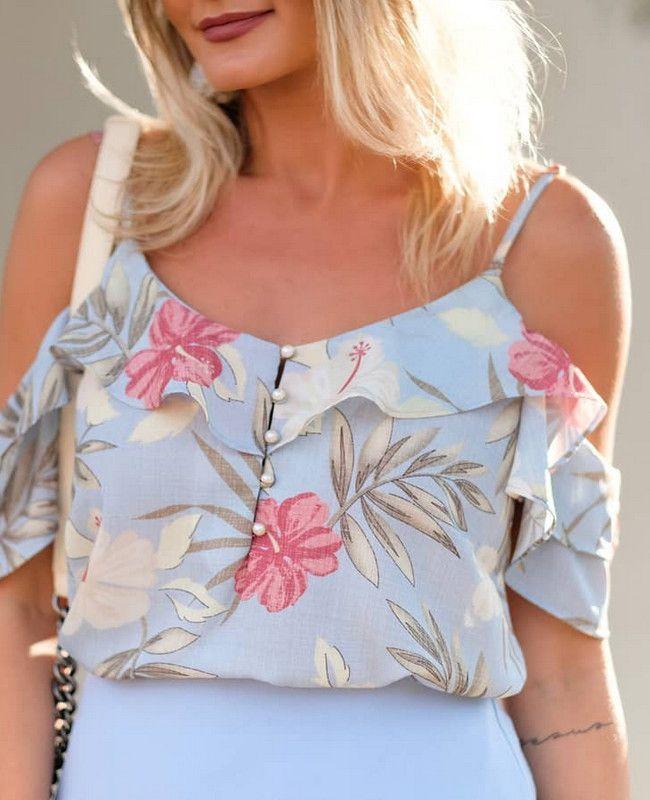 Blusa Floral Ombro Vazado em Crepe Doce Flor