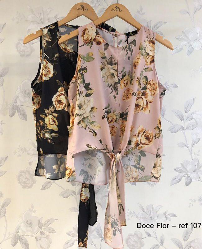 Blusa Floral sem Manga Doce Flor com Lacinho na Frente
