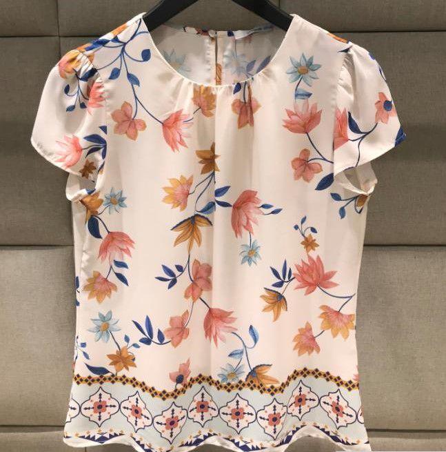 Blusa Franzido Floral Decote Unique Chic