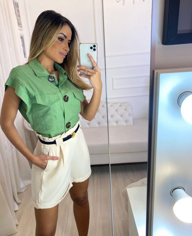 Blusa Linho Maxi Botoes Unique Chic