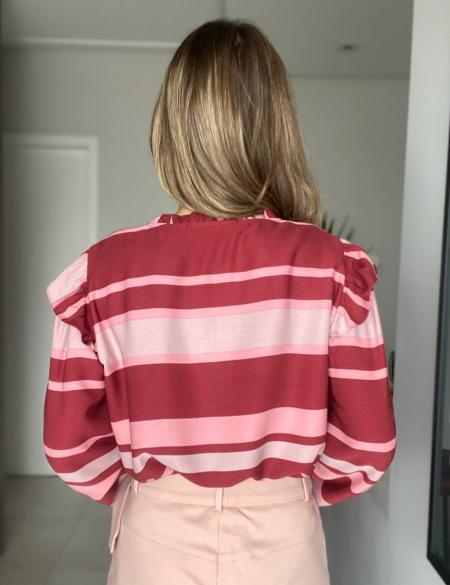 Blusa Listrada Manga Longa Unique Chic
