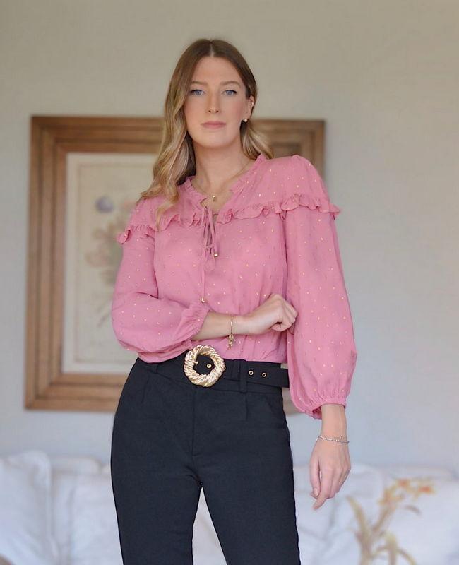 Blusa Milalai em Viscose com Detalhes em Foil