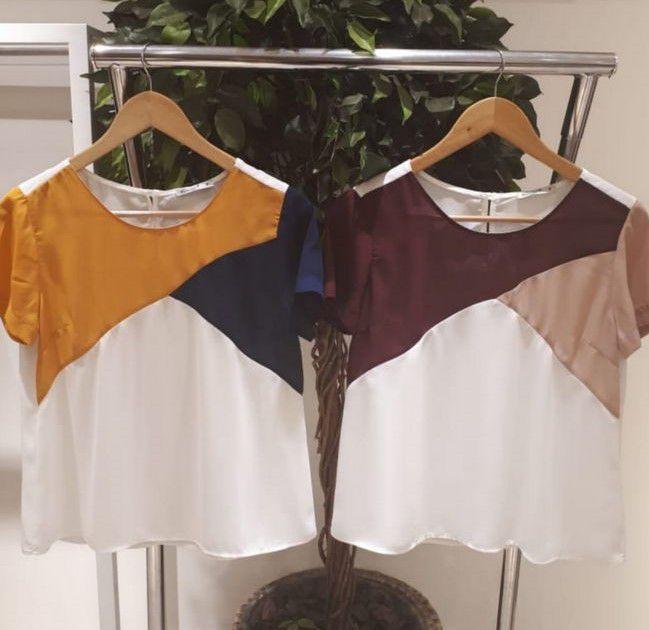 Blusa Milalai Tricolor Manga Curta em Crepe