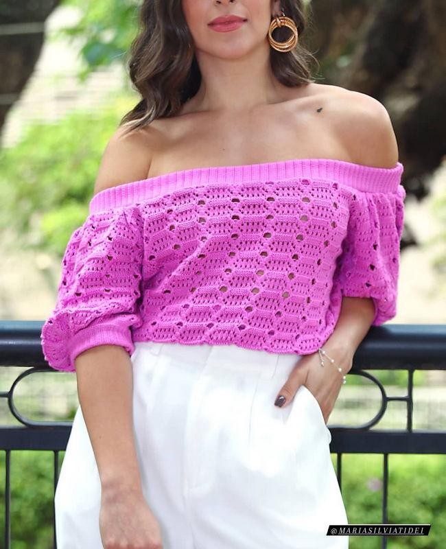 Blusa Ombro a Ombro em Tricot Unique Chic