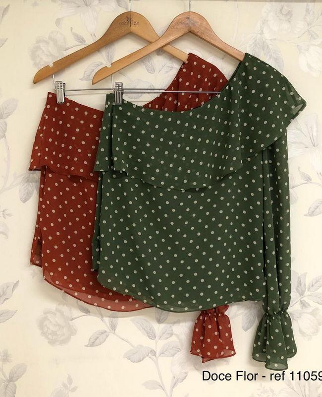Blusa Ombro Unico Petit Poa Doce Flor