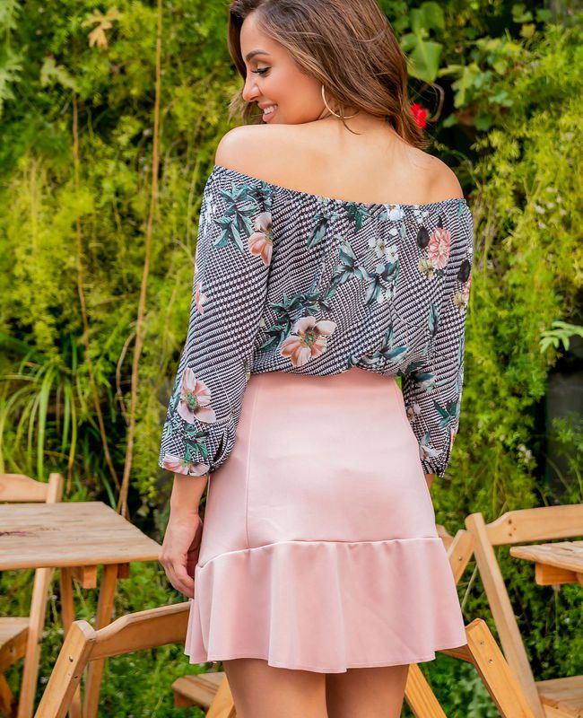 Blusa Ombro Xadrez Floral Donna Ritz