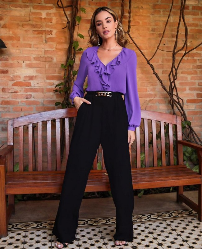 Calca Pantalona em Twill com Fivela Donna Ritz