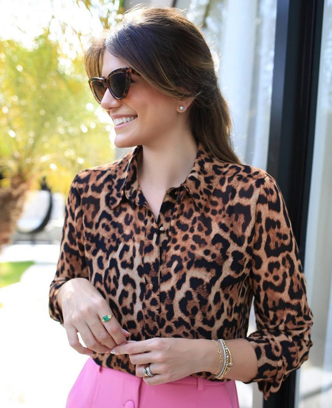 Camisa Animal Print em Chiffon Doce Flor