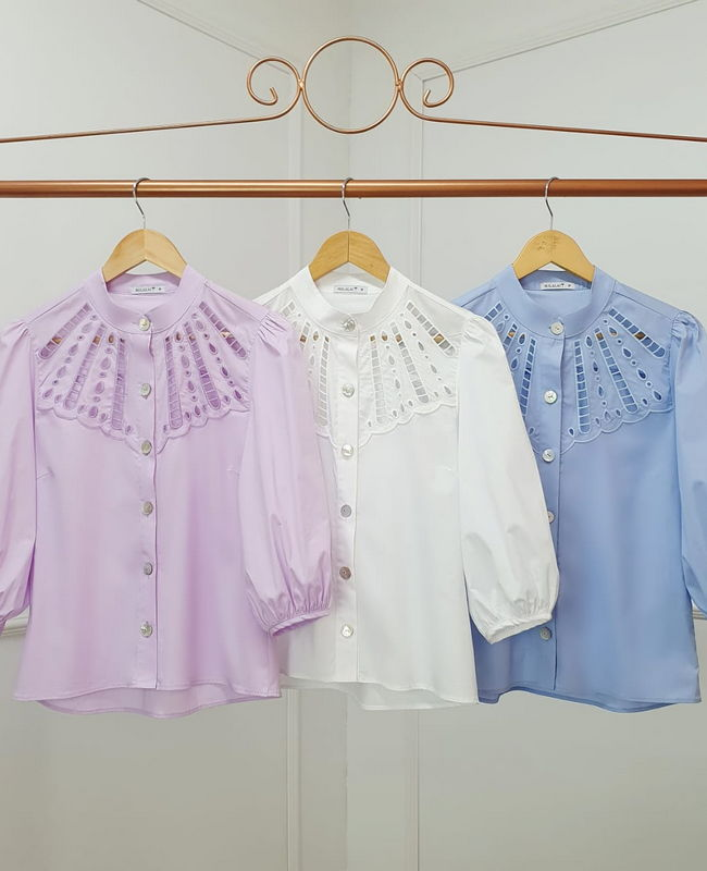 Camisa Bordada com Manga Bufante Milalai