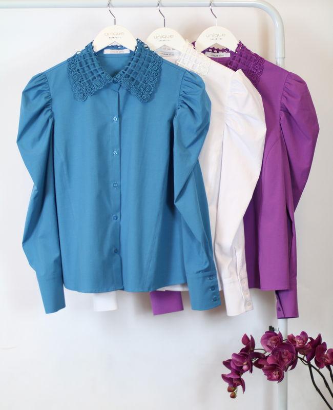 Camisa com Gola em Renda e Mangas Bufantes Unique Chic