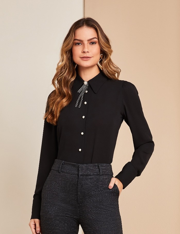 Camisa Crepe Broche Poa Unique Chic