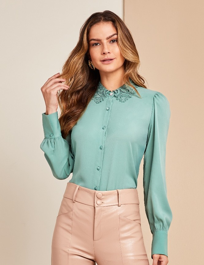 Camisa Crepe Gola Renda Unique Chic