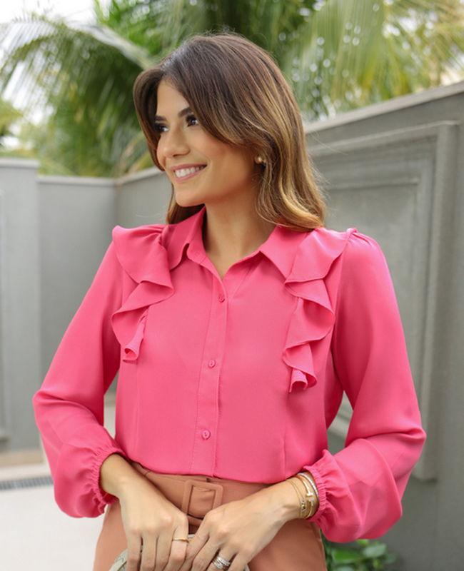 Camisa em Crepe com Detalhe de Jabots Doce Flor