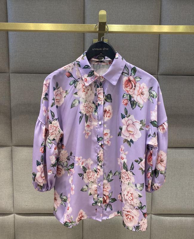 Camisa Floral Manga Bufante