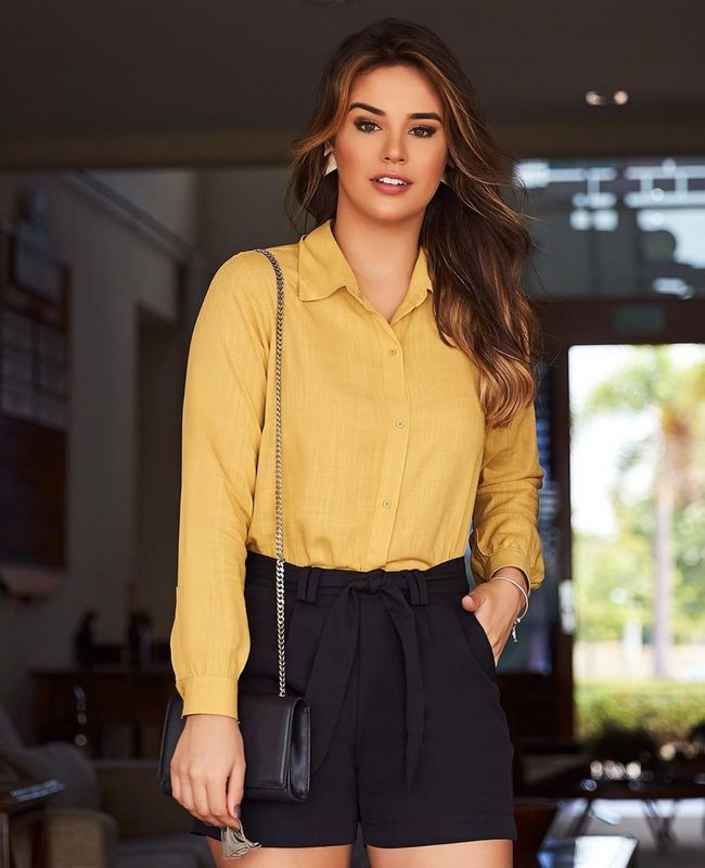 Camisa Lisa Manga Longa Com Botoes em Viscose Milalai