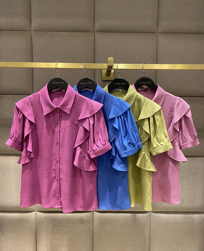 Camisa Manga Curta em Viscose com Babados