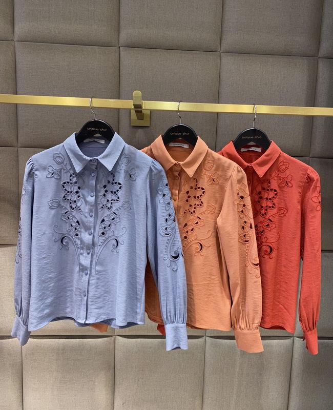 Camisa Manga Longa Bordado Richelieu Unique Chic