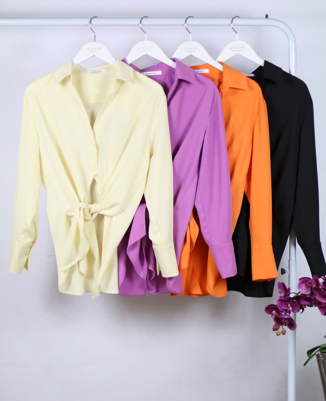 Camisa Manga Longa com Amarracao Frontal Unique Chic