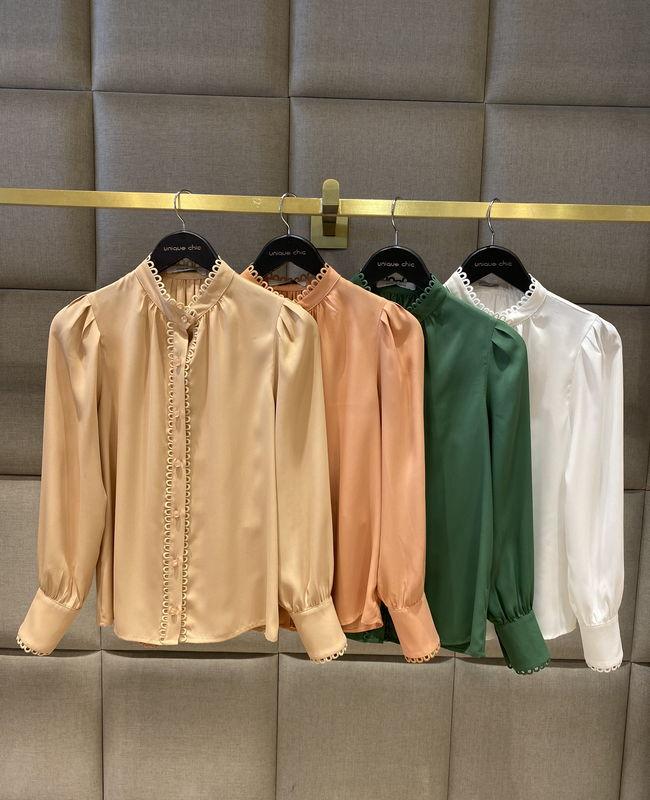 Camisa Manga Longa em Crepe com Aplicacao de Renda