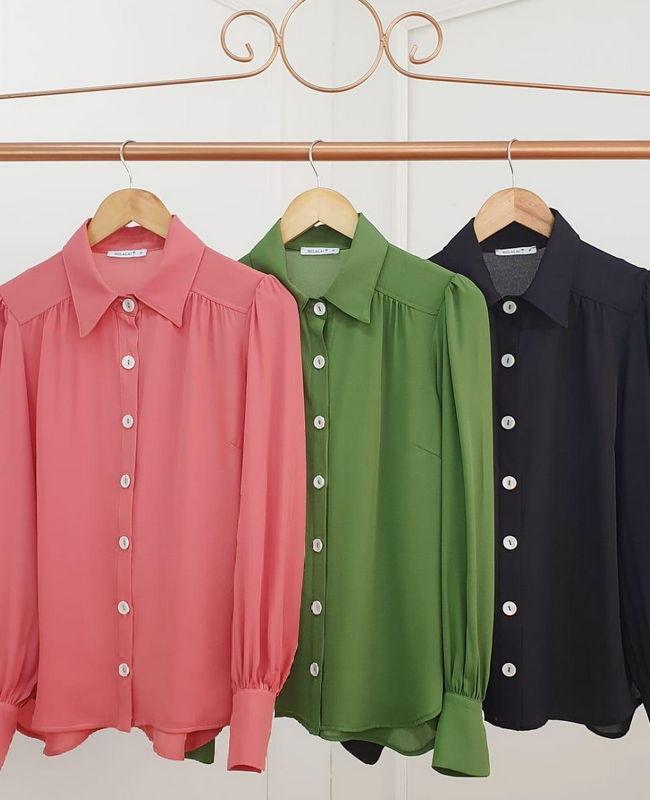 Camisa Manga Longa em Crepe com Mangas Bufantes Milalai