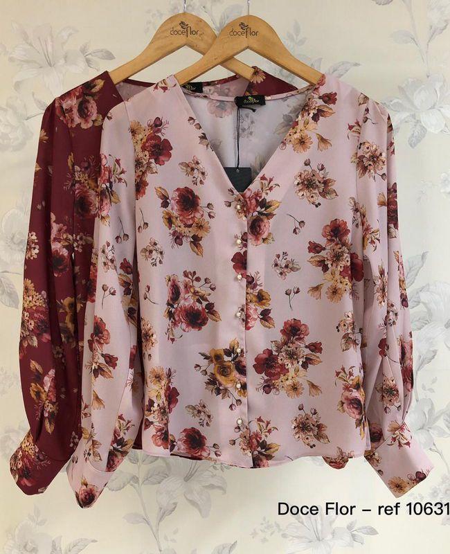Camisa Manga Longa Floral com Perolas Doce Flor