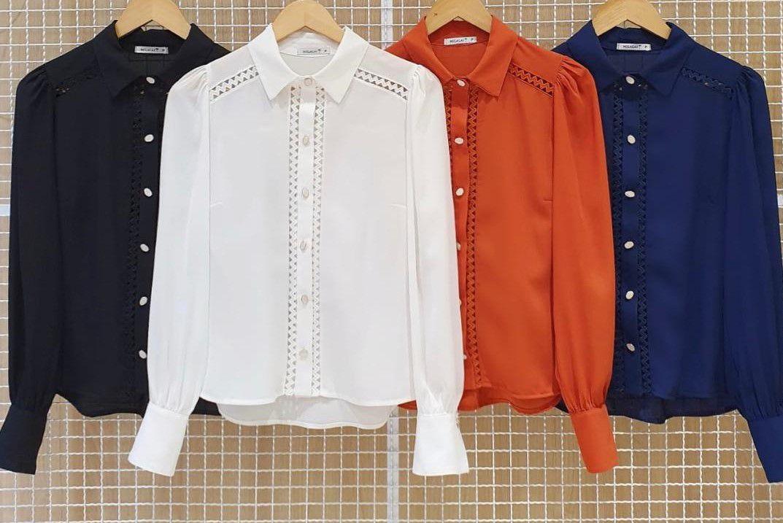 Camisa Milalai em Crepe com Rendas