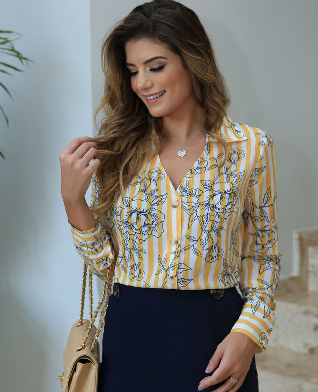Camisa Print Listras Botoes Unique Chic